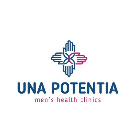 Men's Health Clinic with hands in Cross Logo Design Template