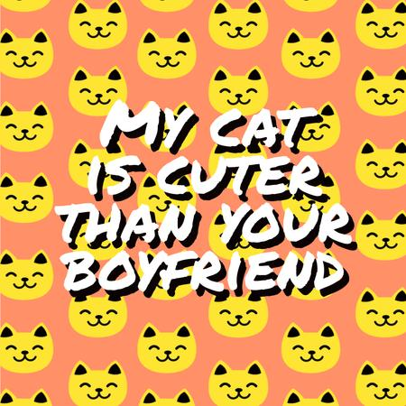 Quote on Smiling Cat Faces Pattern Animated Post – шаблон для дизайна