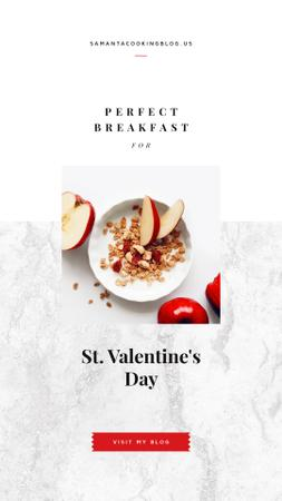 Healthy breakfast on Valentine's Day Instagram Story Design Template