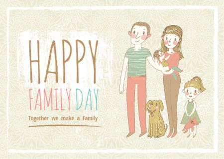 Modèle de visuel Happy family day Greeting - Postcard