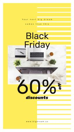 Black Friday Sale Working table with laptop Instagram Story Modelo de Design