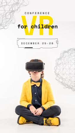 Boy in VR glasses in Yellow clothes Instagram Video Story Modelo de Design