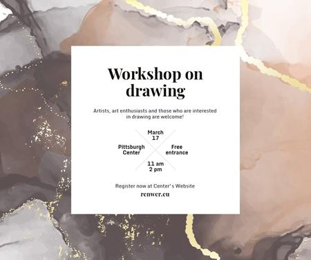 Art Workshop promotion on watercolor pattern Facebook Modelo de Design