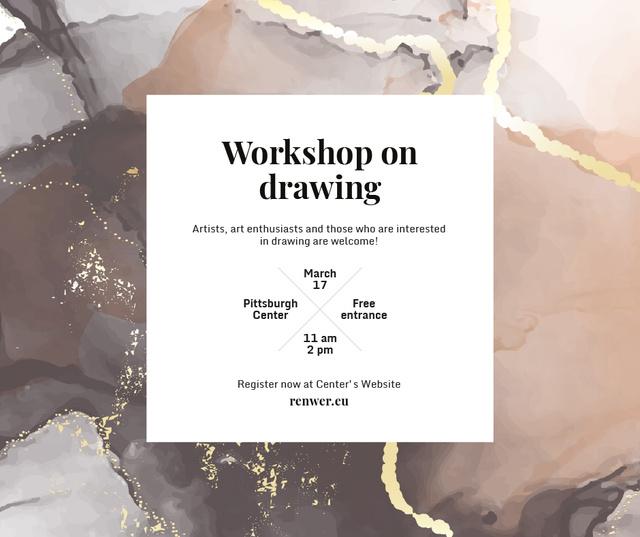 Template di design Art Workshop promotion on watercolor pattern Facebook
