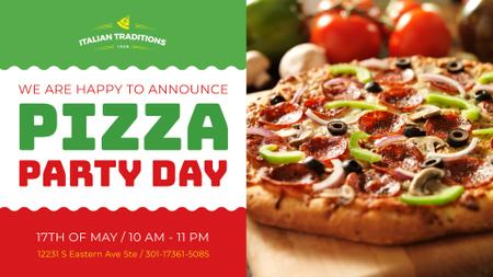 Plantilla de diseño de Pizza Party Day Invitation Italian Flag FB event cover