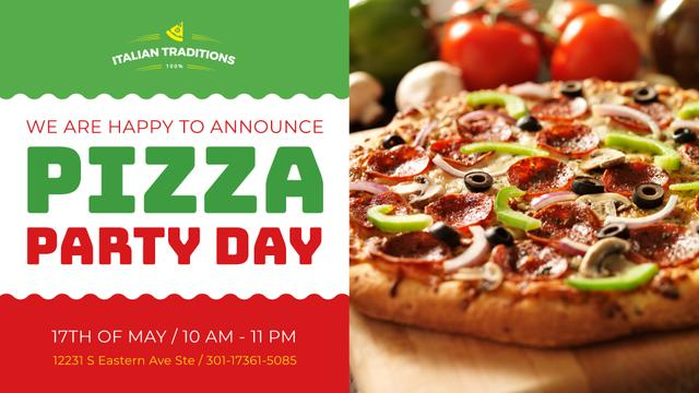 Modèle de visuel Pizza Party Day Invitation Italian Flag - FB event cover