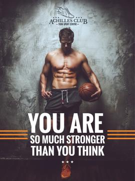 Sports Poster with Muscular Basketball Player