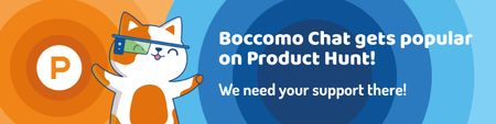Product Hunt Campaign Launch with Cute Cat Web Banner – шаблон для дизайну