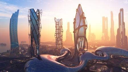View of Futuristic City Buildings Zoom Background – шаблон для дизайна