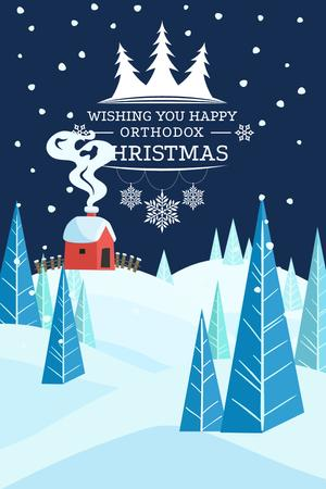 Ontwerpsjabloon van Pinterest van Christmas Greeting with Snowy Landscape
