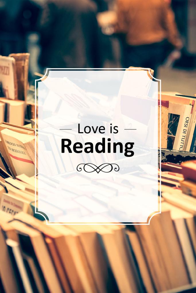 love is reading poster for bookstore — Modelo de projeto