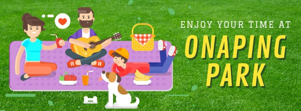 Family on a Picnic in Park Facebook Video Cover — Create a Design