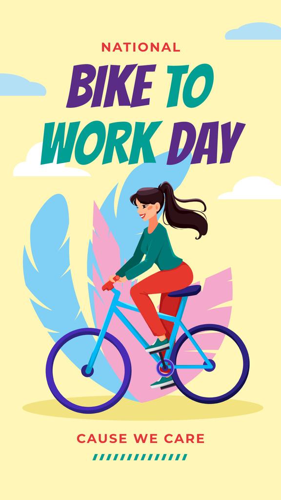 Girl riding bicycle on Bike to Work Day — Maak een ontwerp