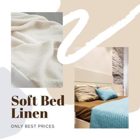 Soft Bed Linen Offer with Cozy Bedroom Instagram AD Tasarım Şablonu