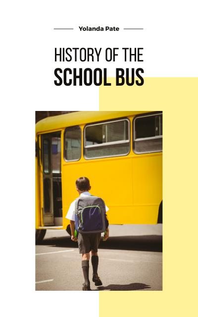 Kid Taking School Bus Book Cover Design Template
