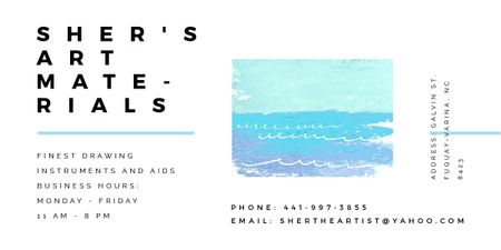 Art Material Store ad with Sea Landscape Image Modelo de Design