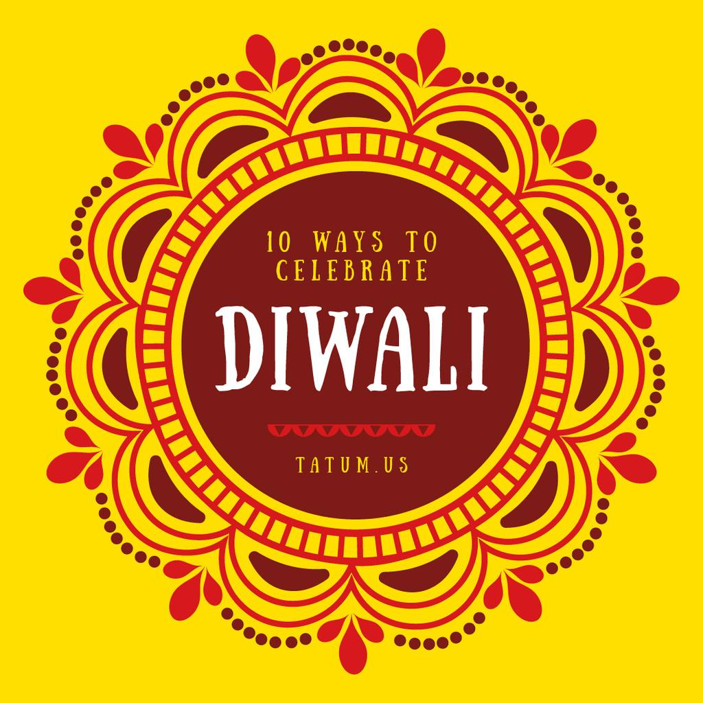 Happy Diwali Greeting Mandala in Yellow | Instagram Post Template — Створити дизайн