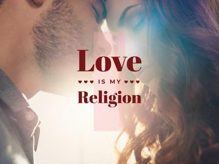 Designvorlage Religion Quote with Happy loving couple für Presentation