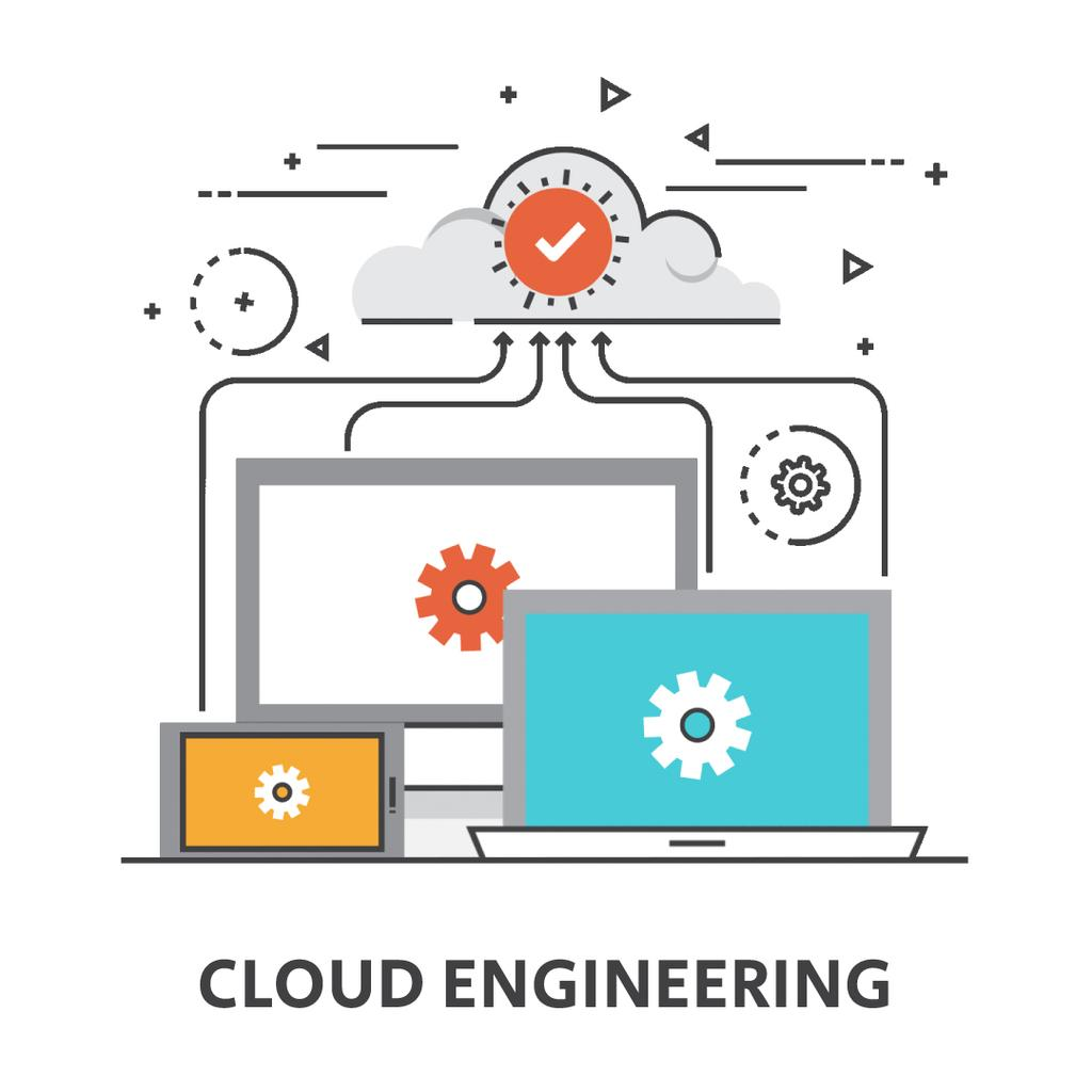 Cloud Service with Computers Icons — Create a Design