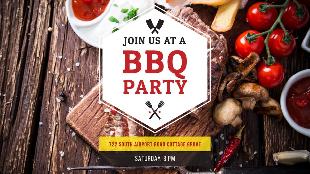 BBQ Party Invitation with Grilled Steak — Maak een ontwerp
