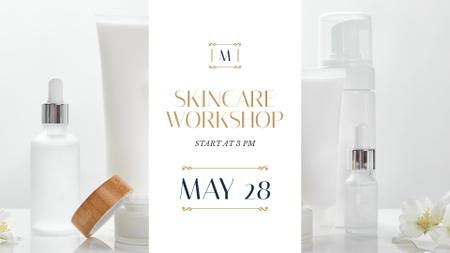 Cosmetics Ad Skincare Products Mock up FB event cover Modelo de Design