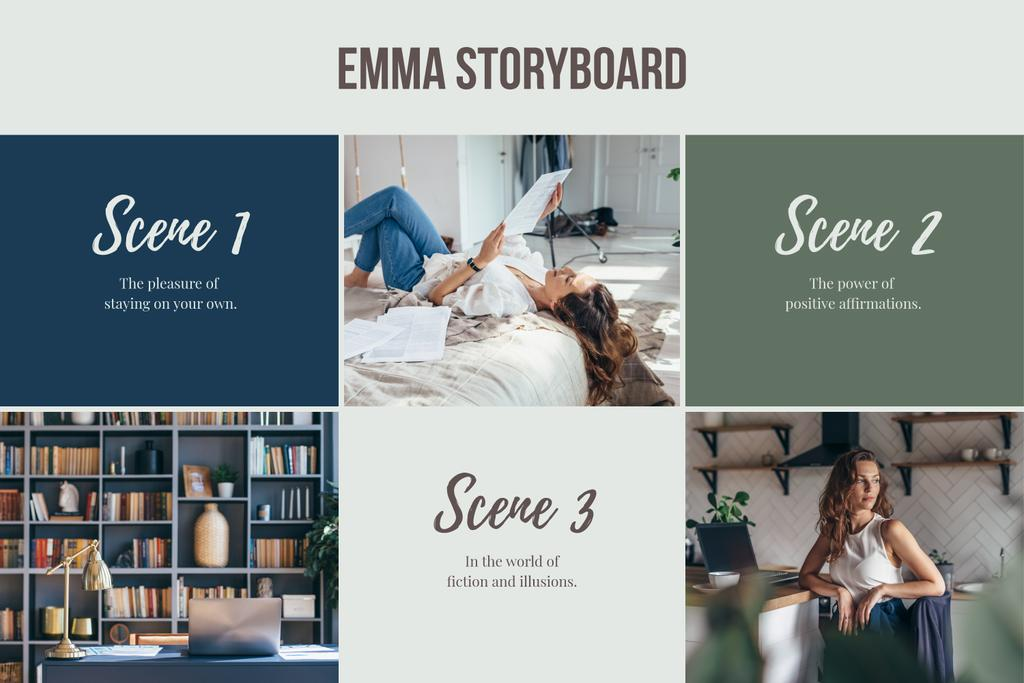 Staying Home mood Storyboard Design Template