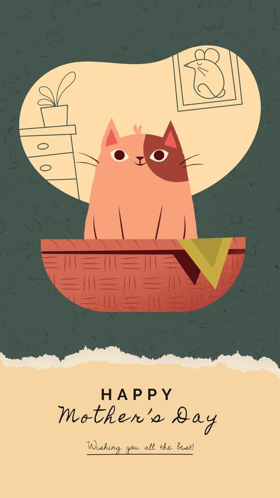 Mother's Day Greeting Cat with Kittens in Basket | Vertical Video Template — Create a Design