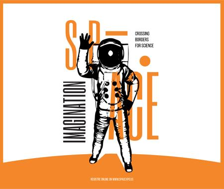 Plantilla de diseño de Space Lecture Astronaut Sketch in Orange Facebook