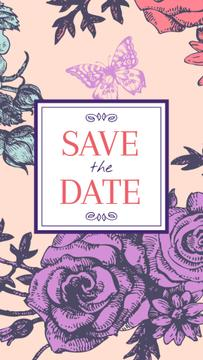 Save the Date in Frame with bright flowers