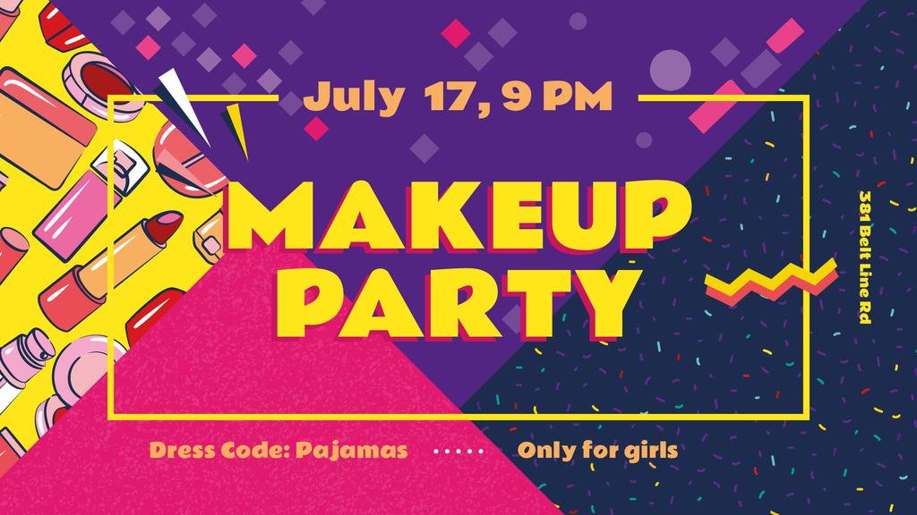 Makeup Party Invitation Cosmetics Set | Facebook Event Cover Template — Crear un diseño