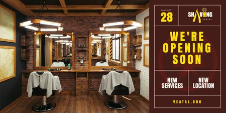 Designvorlage Opening Announcement with Barbershop Interior für Twitter