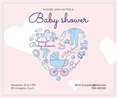 Ontwerpsjabloon van Facebook van Baby Shower Invitation Kids Stuff Icons