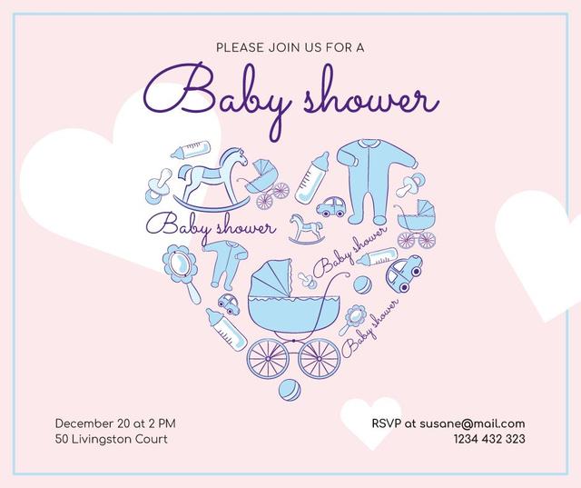 Baby Shower Invitation Kids Stuff Icons Facebook Modelo de Design