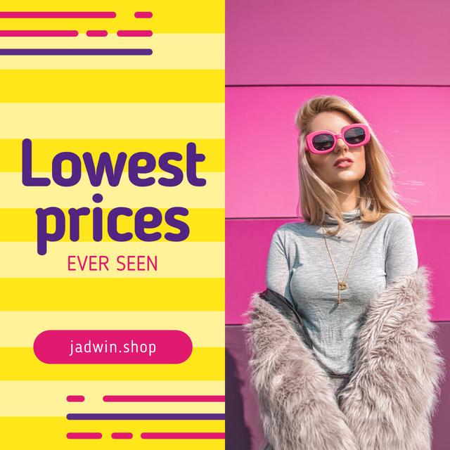 Fashion Sale with Woman in Fur Coat Instagram Tasarım Şablonu