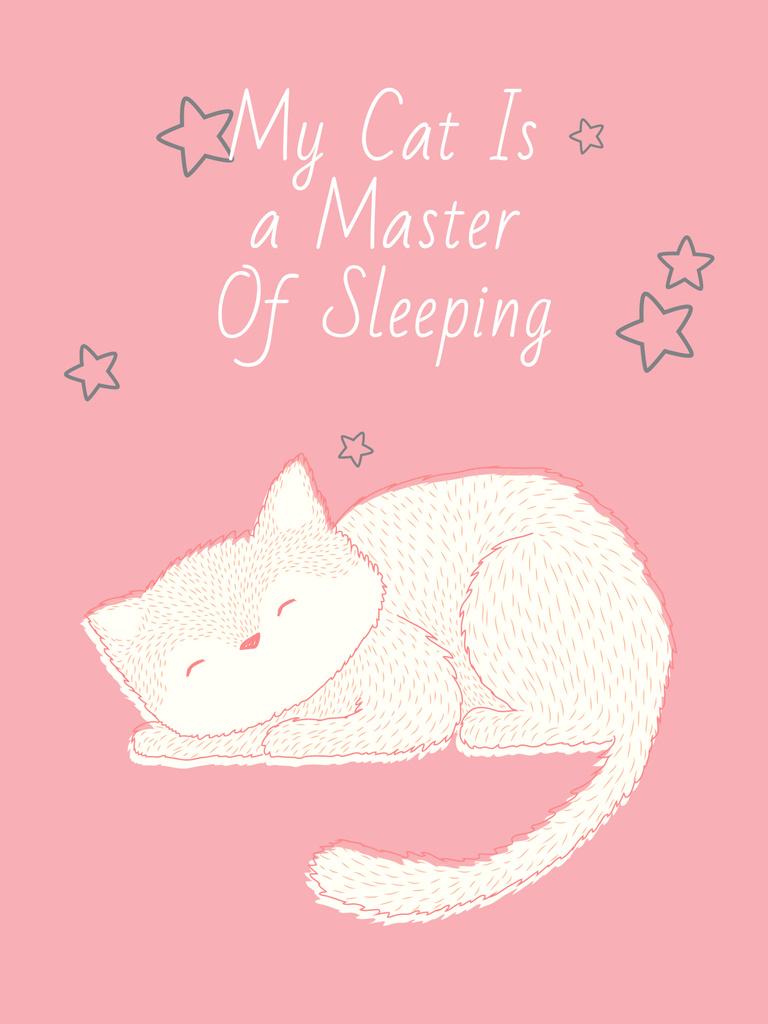 Cute Cat Sleeping in Pink — Створити дизайн