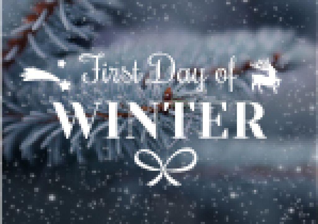First day of winter lettering with frozen fir tree branch - Bir Tasarım Oluşturun