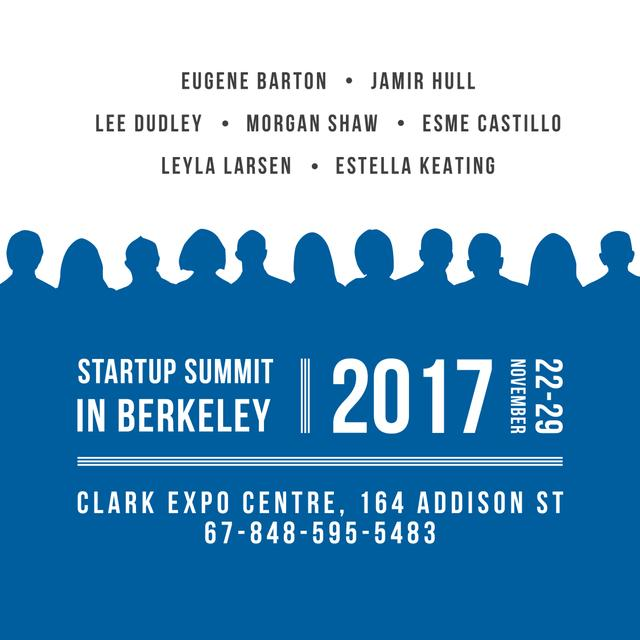 Startup Summit Announcement Businesspeople Silhouettes Instagram AD Design Template