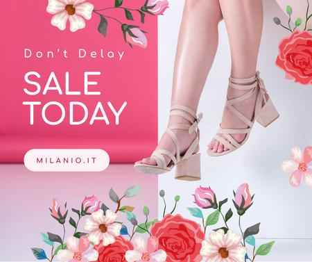 Fashion Sale Woman in Heeled Shoes Facebook Design Template