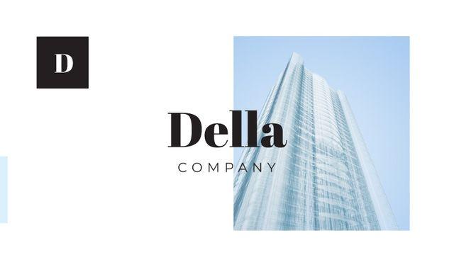 Ontwerpsjabloon van Business card van Building Company Ad with Glass Skyscraper in Blue