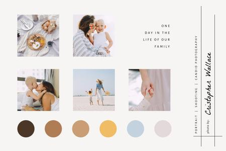Plantilla de diseño de Happy Mother with her Child at seacoast Mood Board
