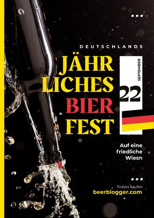 Plantilla de diseño de Beer Fest Invitation with Bottle with Splashing Alcohol Poster