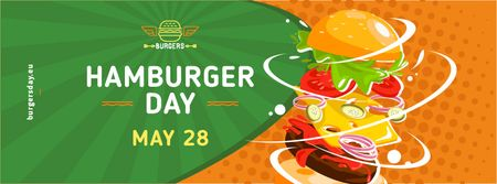 Ontwerpsjabloon van Facebook cover van Hamburger Day Putting together cheeseburger layers