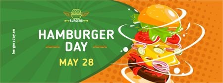Plantilla de diseño de Hamburger Day Putting together cheeseburger layers Facebook cover