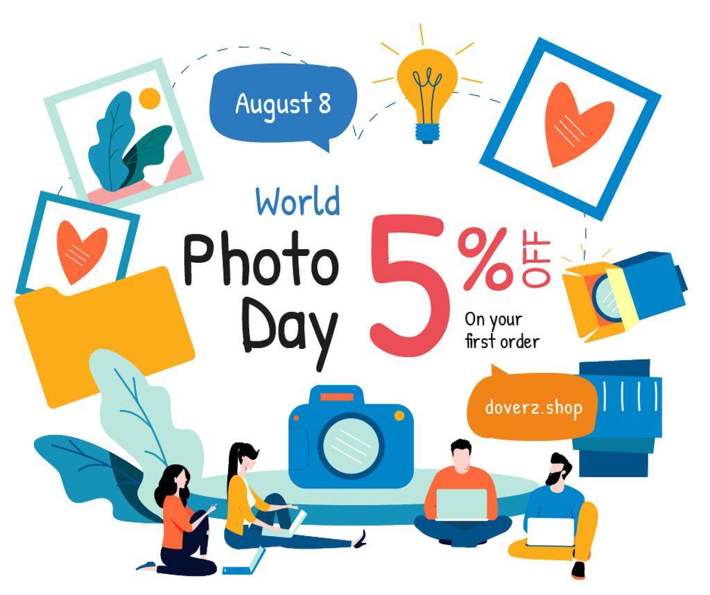 Photo Day Offer Professional Team of Photographers Facebook Tasarım Şablonu