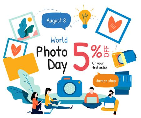 Photo Day Offer Professional Team of Photographers Facebook Design Template