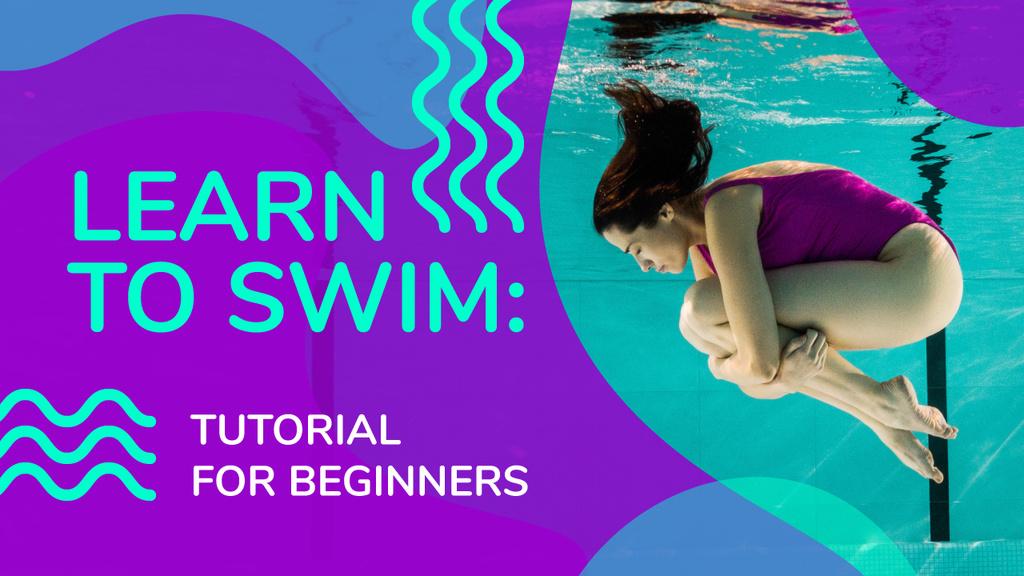Swimming Lessons Woman Diving in Pool | Youtube Thumbnail Template — Maak een ontwerp