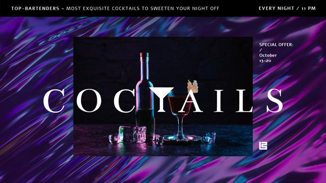 Plantilla de diseño de Bar Ad Cocktail Drink on Counter Full HD video