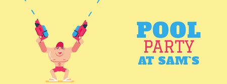 Ontwerpsjabloon van Facebook Video cover van Pool Party Invitation