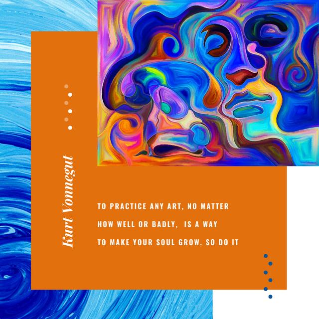 Creative female portrait with Art Quote Instagram Modelo de Design