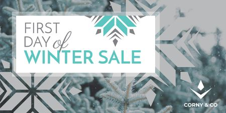 Plantilla de diseño de First day of winter sale Twitter